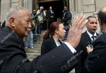 "Former New York Mayor David Dinkins, left, and New York Gov. David Patterson, right, arrive for the funeral of entertainer and civil rights activist Lena Horne at St. Ignatius Loyola church in New York, . Horne, known for her signature song ""Stormy Weather"" and for her triumph over bigotry, died Sunday in New York. She was 92"