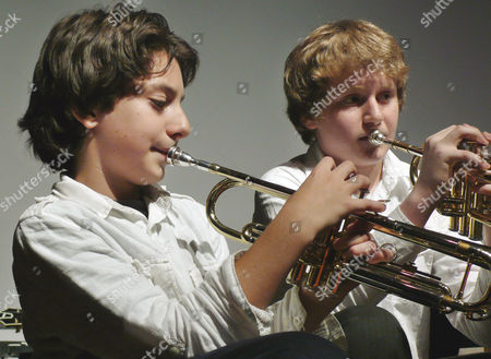 Stock Photo of Vadim Imperioli; Leo Gitelman Student trumpeter Vadim Imperioli, 11, left, accompanies fellow student Leo Gitelman at the Claremont Preparatory School in New York, . Imperioli's father, actor Michael Imperioli, is among the organizers of the school's new jazz residency program. Each week since January, a group of jazz artists has been working with students at the school