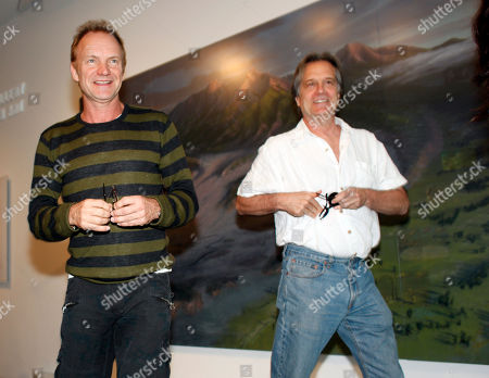 "Sting, Stephen Hannock Rock star and environmental activist Sting, left, joins painter Stephen Hannock in looking over Hannock's atmospheric Colorado landscape entitled ""Mount Blanca with Ute Creek at Dawn"" where the painting is displayed in the Denver Art Museum in Denver on . Sting, who is performing in Denver on Thursday, has known Hannock for more than 25 years"