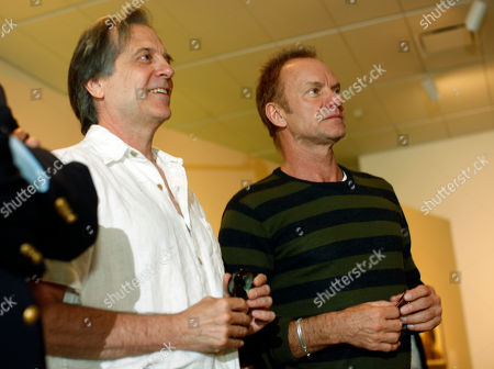 "Sting, Stephen Hannock Rock star and environmental activist Sting, right, joins painter Stephen Hannock in looking over Hannock's atmospheric Colorado landscape entitled ""Mount Blanca with Ute Creek at Dawn"" where the painting is displayed in the Denver Art Museum in Denver on . Sting, who is performing in Denver on Thursday, has known Hannock for more than 25 years"