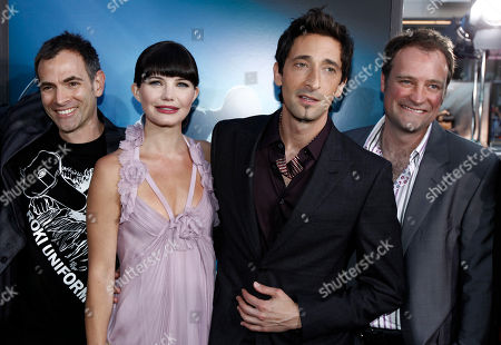 "Vincenzo Natali, Delphine Chaneac, Adrien Brody, David Hewlett From left, director Vincenzo Natali, actress Delphine Chaneac, actor Adrien Brody, and actor David Hewlett pose together at the premiere of ""Splice"" in Los Angeles on"