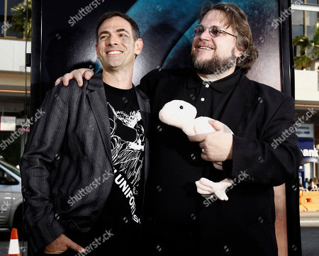 "Vincenzo Natali, Guillermo Del Toro Director Vincenzo Natali, left, and producer Guillermo Del Toro pose together at the premiere of ""Splice"" in Los Angeles on"