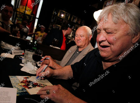 Bobby Hull Former Chicago Blackhawk Bobby Hull signs autographs for fans at Harry Caray's Tavern Navy Pier on . The Blackhawks faced the Philadelphia Flyers in Game 6 of the NHL hockey Stanley Cup finals Wednesday in Philadelphia