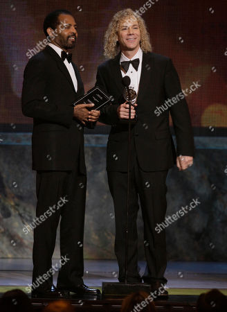"Stock Image of Daryl Waters, David Bryan Daryl Waters, right, and David Bryan accept the Tony Award for orchestration for their work in ""Memphis"" during the 61st Tony Awards, in New York"