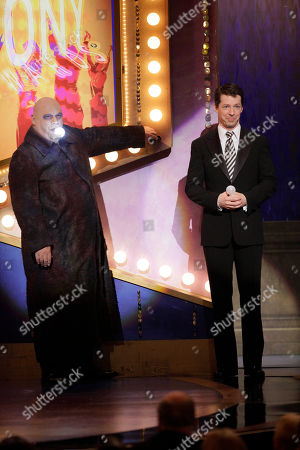 "Sean Hayes, Kevin Chamberlin Tony Awards co-host Sean Hayes, right, and Kevin Chamberlin, who plays Uncle Fester in the Broadway production of ""The Addams Family,"" appear onstage during the 61st Tony Awards, in New York"