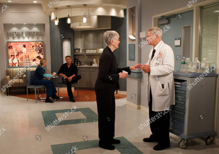 """Kathryn Hays, Don Hastings Veteran actors Kathryn Hays, left, and Don Hastings run through a scene as two younger actors look on during the final weeks of taping for CBS's soap opera """"As the World Turns,"""" at JC Studios in New York. The final episode of the soap opera, which has been running since 1956, will air on Sept. 17"""