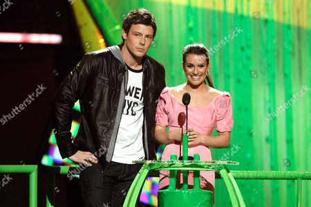Stock Image of Lea Michele, Corey Monteith Lea Michele and Corey Monteith present and award at Nickelodeon's 23rd Annual Kids' Choice Awards, in Los Angeles