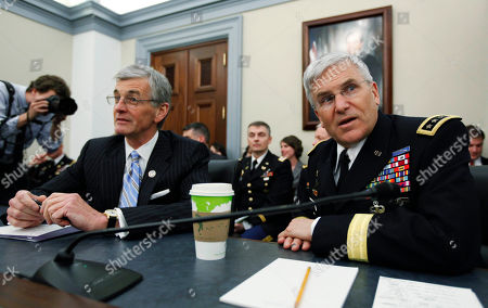 John McHugh, George Casey Secretary of the Army John M. McHugh, left, and Army chief of Staff General George W. Casey, Jr., are seated before the start of a House Committee on Appropriations, Subcommittee on Defense, hearing on the posture of the army on Capitol Hill in Washington