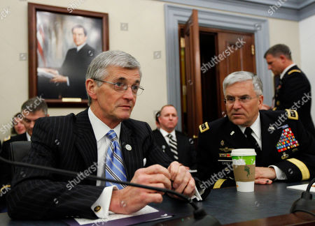 John McHugh, George Casey Secretary of the Army John M. McHugh, left, and Army Chief of Staff Gen. George W. Casey, Jr., talk before the start of a House Committee on Appropriations, Subcommittee on Defense hearing on the posture of the army on Capitol Hill in Washington