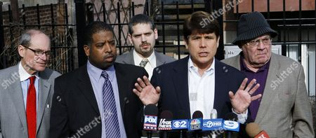 Rod Blagojevich, Sam Adam, Sheldon Sorosky Former Illinois Gov. Rod Blagojevich, left, calls out U.S. Attorney Patrick Fitzgerald and defends his wife during a news conference with his legal team in Chicago. Standing with Blagojevich from left is attorney Sheldon Sorosky, clerk Jason Wallace, attorney Aaron Goldstein, Blagojevich and attorney Sam Adam