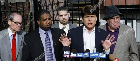 Rod Blagojevich, Sam Adam, Sheldon Sorosky Former Illinois Gov. Rod Blagojevich, second from right, calls out U.S. Attorney Patrick Fitzgerald and defends his wife during a news conference with his legal team, in Chicago. Standing with Blagojevich from left is attorney Sheldon Sorosky, clerk Jason Wallace, attorney Aaron Goldstein, Blagojevich and attorney Sam Adam