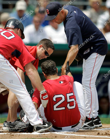 Kevin Youkilis, Mike Lowell, Terry Francona Boston Red Sox's Mike Lowell, below center, is helped off the field by Red Sox manager Terry Francona, right, teammate Kevin Youkilis, left, and a Red Sox staff member, center, after Lowell was hit on his left knee by a foul ball he hit off a pitch by Toronto Blue Jays' Brett Cecil in the first inning of a spring training baseball game in Fort Myers, Fla., . The Red Sox defeated the Blue Jays 3-2