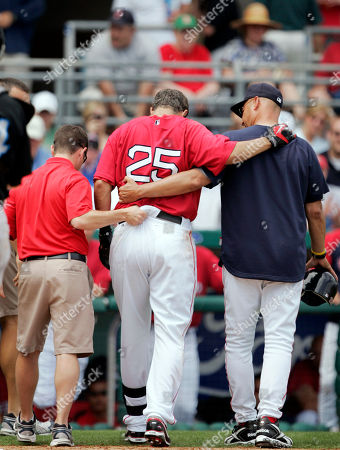 Mike Lowell, Terry Francona Boston Red Sox's Mike Lowell, center, is helped off the field by Red Sox manager Terry Francona, right, and a Red Sox staff member, left, after Lowell was hit on his left knee by a foul ball he hit off a pitch by Toronto Blue Jays' Brett Cecil in the first inning of a spring training baseball game in Fort Myers, Fla., . The Red Sox defeated the Blue Jays 3-2