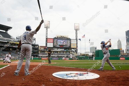Garret Anderson, Jamey Carrol, PNC Park Los Angeles Dodgers' Garret Anderson, (9), left and Jamey Carroll, right, warm up in the ondeck circle at PNC Park in the baseball game between the Pittsburgh pirates and the Los Angeles Dodgers in Pittsburgh