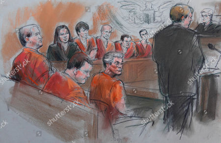 This courtroom drawing shows David Brian Stone Sr., 44, of Clayton, Mich, center; and counterclockwise from foreground left, Michael David Meeks, 40, of Manchester, Mich.; Kristopher T. Sickles, 27, of Sandusky, Ohio; Tina Mae Stone; David Brian Stone Jr. of Adrian, Mich,; Jacob Ward, 33, of Huron, Ohio; Joshua John Clough, 28, of Blissfield, Mich. and Joshua Matthew Stone are shown appearing before U.S. District Court Magistrate Judge Donald A. Scheer and Assistant U.S. Attorney Ronald Waterstreet in Detroit, . An undercover federal agent infiltrated a Christian militia group that authorities say plotted to incite violent revolt, and the agent built explosives under the direction of the group's suspected ringleader, a Waterstreet said Wednesday