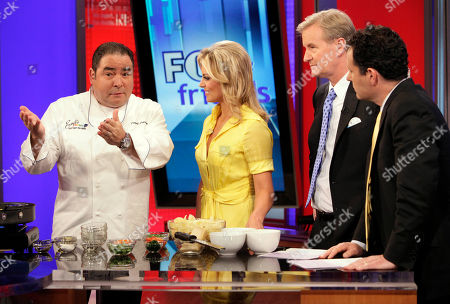 """Emeril Lagasse, Steve Doocy, Courtney Friel, Brian Kilmeade Chef Emeril Lagasse, left, talks with co-hosts Courtney Friel, Steve Doocy, third left, and Brian Kilmeade during his appearance on the """"FOX & friends"""" cable television program in New York"""