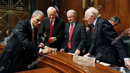 Eric Holder, Orin Hatch, Jeff Sessions, Herb Kohl Attorney General Eric Holder, left, talks with Senate Judiciary Committee members, from second from left, Sen. Orrin Hatch, R-Utah, the committee's ranking Republican Sen. Jeff Sessions, R-Ala., and Sen. Herb Kohl, D-Wis., on Capitol Hill in Washington, prior to the start of the committee's hearing on the oversight of the Justice Department