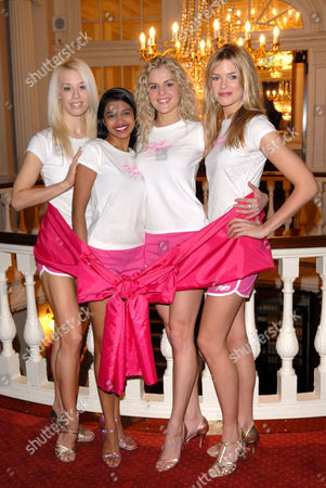 Stock Picture of The cast of the West End show, Dirty Dancing 'go pink' for a charity gala performance in aid of Breast Cancer Care (left to right, Tanya Perera, Nadia Coote and Isabella Anstruther Gough Calthorpe)