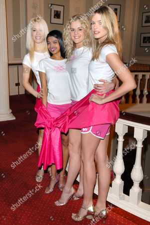 The cast of the West End show, Dirty Dancing 'go pink' for a charity gala performance in aid of Breast Cancer Care (left to right, Tanya Perera, Nadia Coote and Isabella Anstruther Gough Calthorpe)