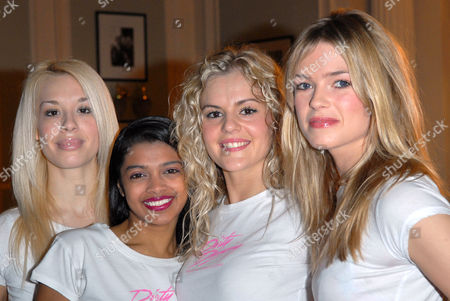 Stock Image of The cast of the West End show, Dirty Dancing 'go pink' for a charity gala performance in aid of Breast Cancer Care (left to right, Tanya Perera, Nadia Coote and Isabella Anstruther Gough Calthorpe)