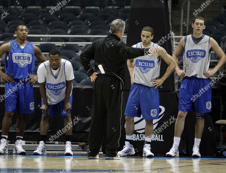 Bob Williams, Orlando Johnson, James Nunnally, James Powell, Sam Phippen UC Santa Barbara coach Bob Williams addresses his players, from left, Orlando Johnson, James Nunnally, James Powell and Sam Phippen, during NCAA college basketball tournament practice in Milwaukee, . UC Santa Barbara plays Ohio State in a first-round game Friday