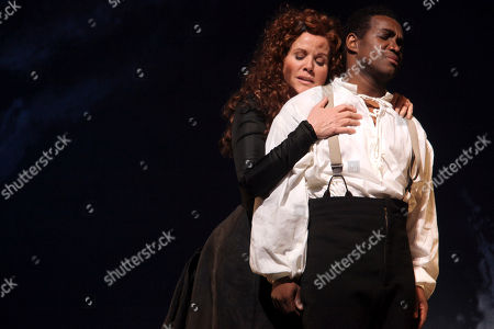 "Renee Fleming, Lawrence Brownlee Renee Fleming performs the title roll alongside Lawrence Brownlee performing as Rinaldo during the final dress rehearsal of Gioachino Rossini's ""Armida"" at the Metropolitan Opera in New York"