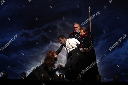 "Renee Fleming, Lawrence Brownlee, Kobie van Rensburg, Barry Banks Renee Fleming, left, performs the title roll alongside Lawrence Brownlee, second from left, performing as Rinaldo, Kobie van Rensburg, second from right, performing as Ubaldo, and Barry Banks performing as Carlo during the final dress rehearsal of Gioachino Rossini's ""Armida"" at the Metropolitan Opera in New York"