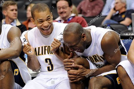 Jerome Randle, Patrick Christopher California's Jerome Randle, and Patrick Christopher laugh it up in the closing minutes of an NCAA college basketball game against Oregon at the Pac-10 Conference tournament, in Los Angeles. California won 90-74