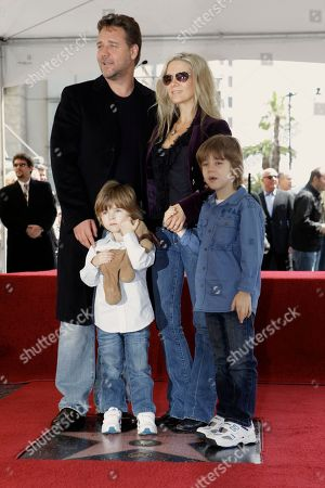 Russell Crowe, Danielle Spencer, Tennyson Spencer Crowe, Charles Spencer Crowe Academy Award winning actor Russell Crowe is joined by his son Tennyson Spencer Crowe, left, his wife Danielle Spencer, and their son Charles Spencer Crowe, right, as he is honored with a star on the Hollywood Walk of Fame, in Los Angeles