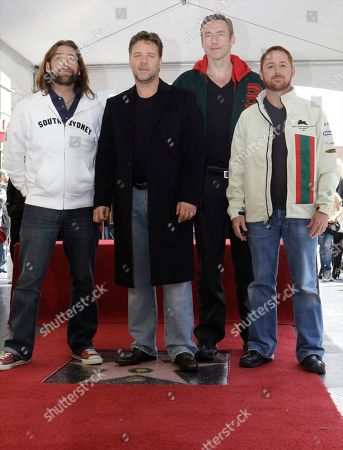 Alan Doyle, Russell Crowe, Kevin Durand, Scott Grimes From left, actors Alan Doyle, Russell Crowe, Kevin Durand and Scott Grimes, pose for a photo while actor Russell Crowe is honored with a star on the Hollywood Walk of Fame, in Los Angeles