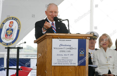 Ross Perot Ross Perot speaks during christening of the U.S. Navy destroyer William P. Lawrence at Northrop Grumman Shipbuilding in Pascagoula, Miss. The destroyer honors the late Vice Adm. William P. Lawrence, who spent nearly six years as a prisoner of war in North Vietnam. He later served as superintendent of the Naval Academy