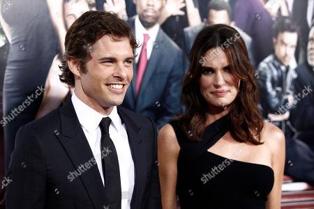 "James Marsden, Lisa Linde Cast member James Marsden, left, and Lisa Linde arrive at the premiere of ""Death at a Funeral"" in Los Angeles on"