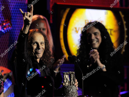 Ronnie James Dio Ronnie James Dio, left, celebrates after receiving the Best Vocalist award at the second annual Revolver Golden Gods Awards in Los Angeles