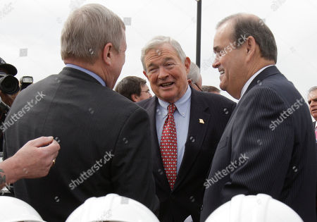 """Richard Durbin, Christopher """"Kit"""" Bond, Jerry Costello Sen. Richard Durbin, D-Ill., left, Sen. Christopher """"Kit"""" Bond, R-Mo., center, and Rep. Jerry Costello, D-Ill., right talk during a groundbreaking ceremony for a $670 million Mississippi River bridge connecting Illinois and Missouri, in St. Louis. Construction is being paid for by a mix of state funds and $239 million in federal cash for the four-lane bridge which is expected to open by 2014 and carry about 40,000 vehicles a day"""