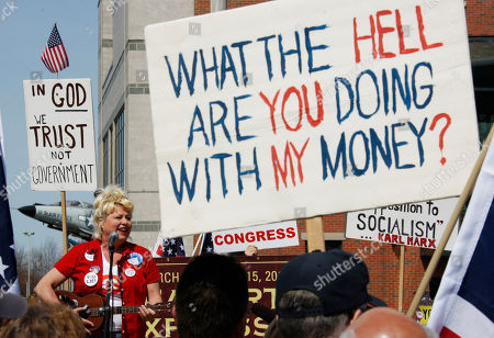 Victoria Jackson Comedian Victoria Jackson sings a song during a tea party rally in Buffalo, N.Y. on
