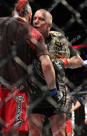 Georges St. Pierre, Dan Hardy UFC Welterweight Champion Georges St. Pierre, right, hugs Dan Hardy aftertheir match at the Prudential Center in Newark, NJ on . St. Pierre won a 5-round unanimous decision