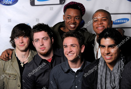 Jermaine Sellers, Michael Lynche, Joe Munoz, Aaron Kelly, Lee Dewyze, Tim Urban American Idol' contestants, clockwise from top center, Jermaine Sellers, Michael Lynche, Joe Munoz, Aaron Kelly, Lee Dewyze and Tim Urban pose together before the American Idol Top 24 finalist party in West Hollywood, Calif