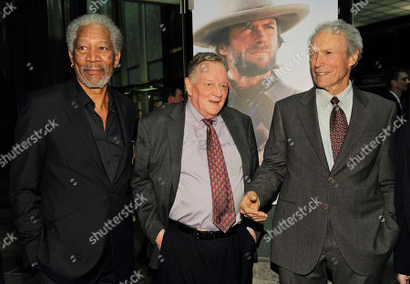 """Stock Photo of Clint Eastwood, Richard Schickel, Morgan Freeman Clint Eastwood, right, poses with film critic Richard Schickel, center, and actor Morgan Freeman at An Evening with Clint Eastwood, presented by Warner Bros. and the Los Angeles County Museum of Art, in Los Angeles. The event celebrated the debut of the new DVD collection """"Clint Eastwood: 35 Films 35 Years at Warner Bros.,"""" and the world premiere of Schickel's new documentary, """"The Eastwood Factor,"""" narrated by Freeman"""