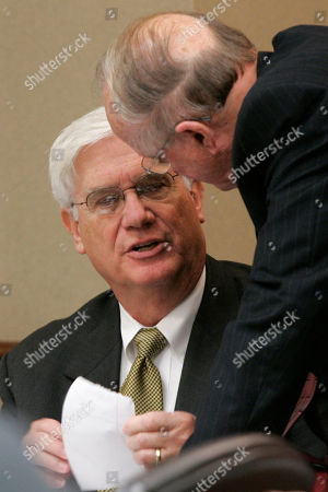 Stock Photo of Richard Weiss, Paul Miller Arkansas Department of Finance and Administration Director Richard Weiss, center, speaks with Sen. Paul Miller, D-Melbourne, during a meeting of the Joint Budget Committee at the Arkansas state Capitol in Little Rock, Ark
