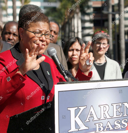 Karen Bass California Assembly Speaker Karen Bass announces her intention to run for the 33rd Congressional District seat being vacated by Rep. Diane Watson, during a news conference in Los Angeles