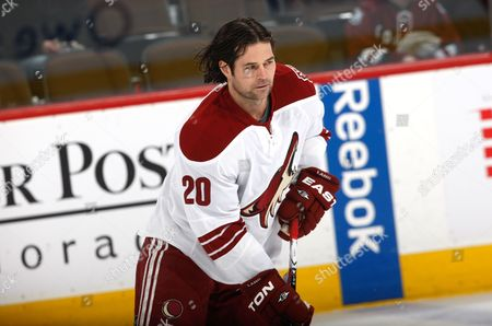 Stock Picture of Robert Lang Phoenix Coyotes enter Robert Lang, of the Czech Republic, warms up before facing the Colorado Avalanche in the first period of an NHL hockey game in Denver on