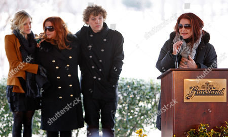 Priscilla Presley, Lisa Marie Presley, Riley Keough, Benjamin Keough Priscilla Presley, right, speaks during a ceremony commemorating Elvis Presley's 75th birthday on in Memphis, Tenn. Listening are her daughter, Lisa Marie, second from left, and Lisa Marie's children Riley Keough, 21, left, and Benjamin Keough, 18, third from left