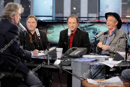 "Don Imus, Larry Gatlin, Steve Gatlin, Rudy Gatlin Steve Gatlin, second left, Rudy Gatlin, third left, and Larry Gatlin --The Gatlin Brothers -- are interviewed by Don Imus, on the ""Imus in the Morning"" program, on the Fox Business Network, in New York"
