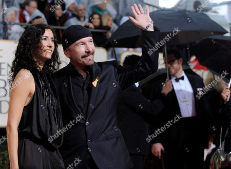 The Edge, Morleigh Steinberg The Edge from the band U2 and his wife, Morleigh Steinberg, left, arrive at the 67th Annual Golden Globe Awards, in Beverly Hills, Calif
