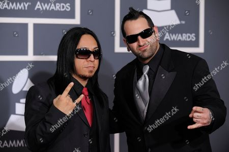 Sin Quirin, Aaron Rossi Ministry's Sin Quirin, left, and Aaron Rossi arrive at the Grammy Awards, in Los Angeles