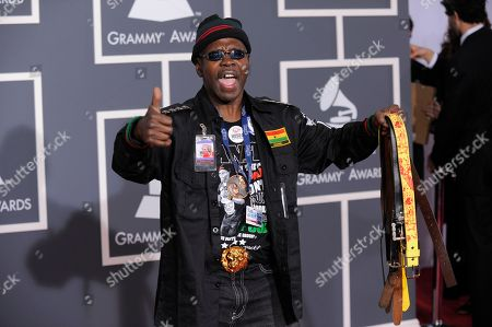 """Stock Image of Larry Platt Pants on the Ground"""" songwriter and performer Larry Platt arrives at the Grammy Awards, in Los Angeles"""