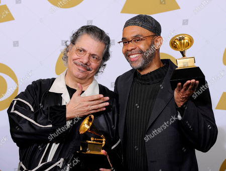 "Stock Image of Chick Corea, Kenny Garrett Chick Corea, left, and Kenny Garret hold the best jazz instrumental album award for ""Five Peace Band - Live,"" backstage at the Grammy Awards, in Los Angeles"