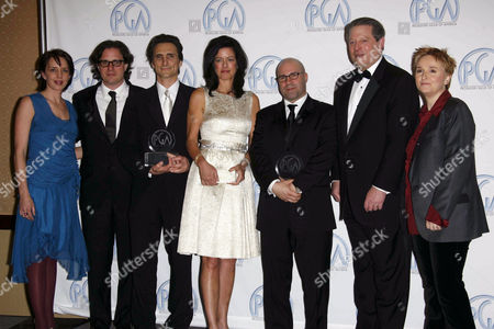Leslie Chilcott, Davis Guggenheim, Lawrence Bender, Laurie David, Scott Burns, Al Gore and Melissa Etheridge