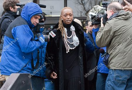 """Jayson Williams' wife, Tanya Young Williams, exits the Somerville, NJ courthouse on after Williams' sentencing in the 2002 fatal shooting of Costas """"Gus"""" Christofi. Superior Court Judge Edward Coleman sentenced Williams to five years in prison with a minimum of 18 months before he is eligible for parole"""