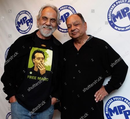 """Richard Marin, Tommy Chong Comedians Richard """"Cheech"""" Marin and Tommy Chong, arrive at the Marijuana Policy Projects 15th annual gala, in Washington"""